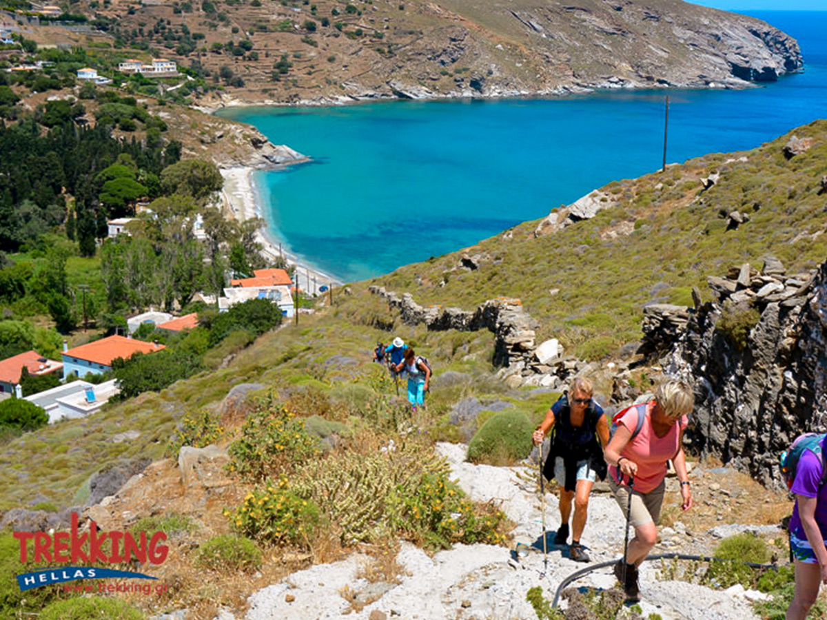 Trail with beautiful views on Authentic Greek Islands hiking tour on Andros & Tinos