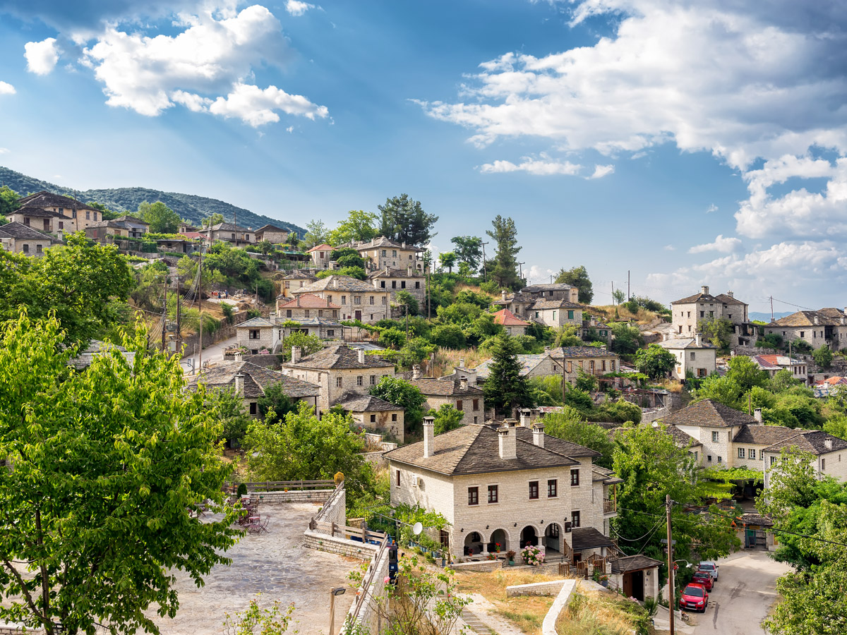 Authentic Greek village on tour of Pindos Mountains trail in Greece