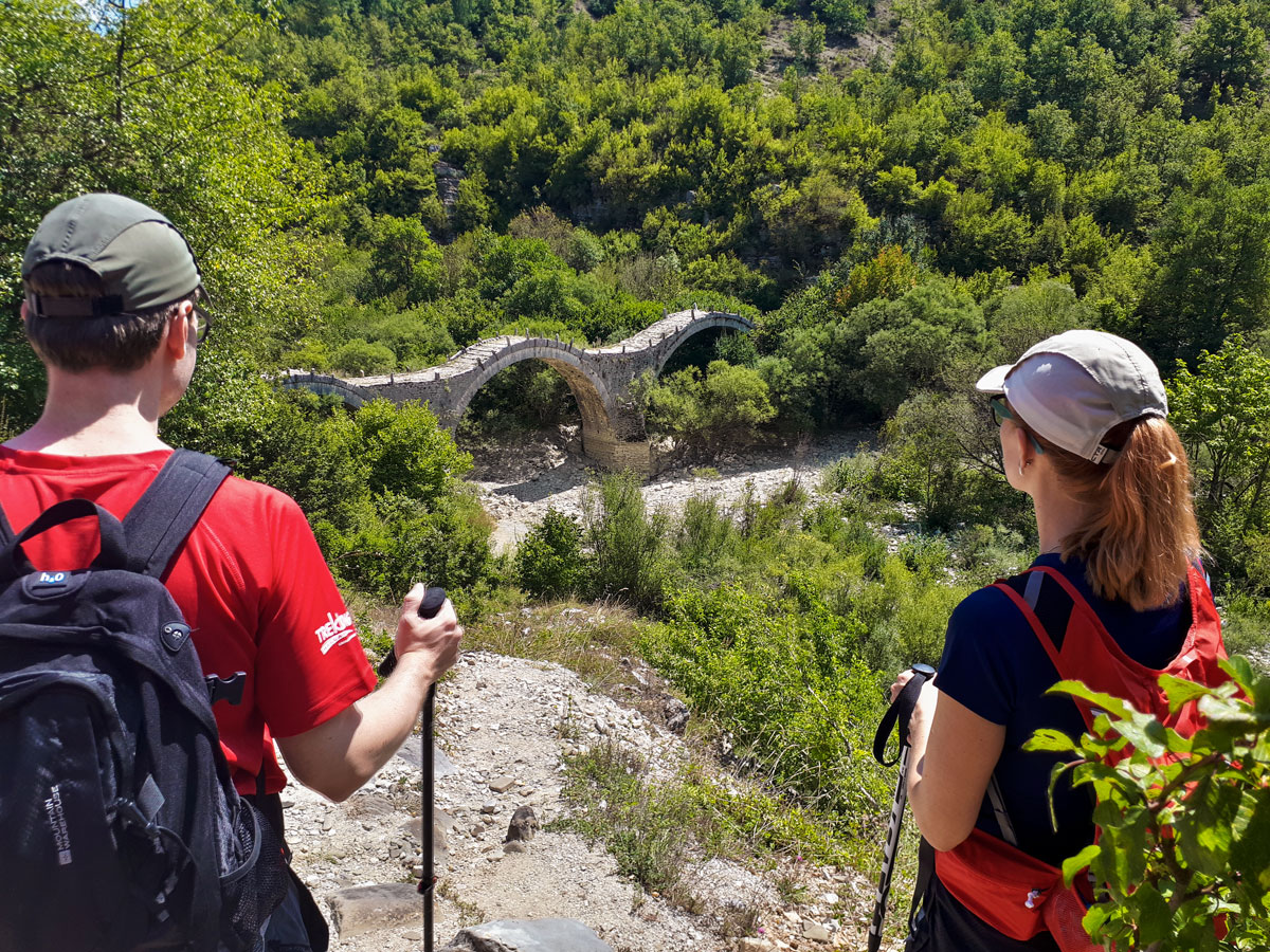 Beautiful old bridges on tour of Pindos Mountains trail in Greece