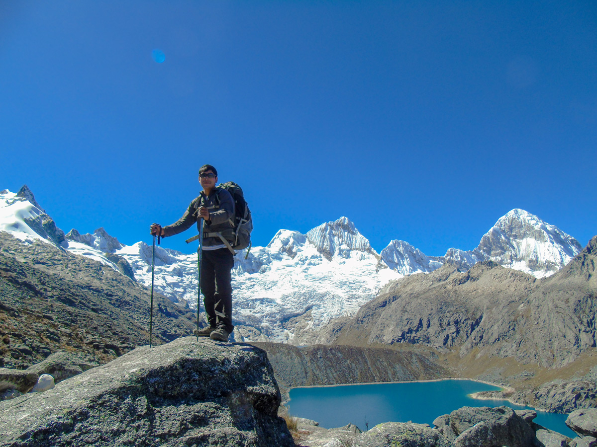 Hiker posing on Alpamayo to Pomabamba trek in Peru