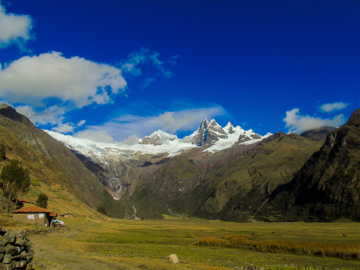 Trekking through a remote valley on Alpamayo to Pomabamba trek in Peru