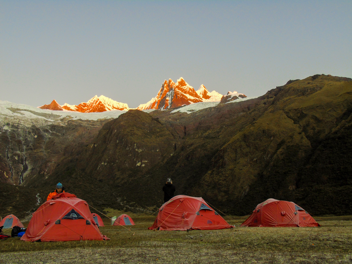 Camping on Alpamayo to Pomabamba trek in Peru