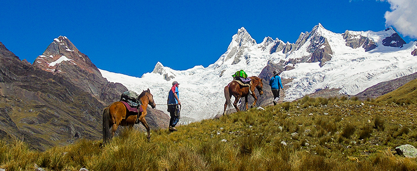 Beautiful mountain views on Alpamayo to Pomabamba trek in Peru