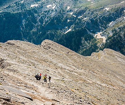 Hiker near Mt Olympus on guided climb to Mount Olympus, Greece