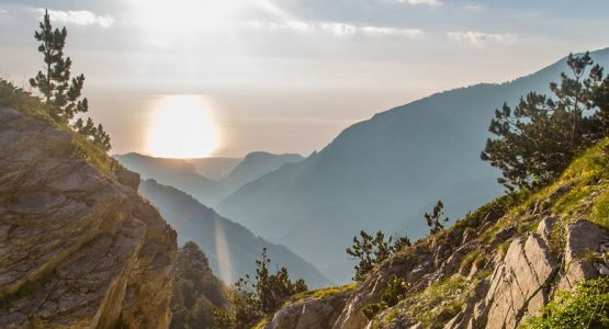 Panoramic view from guided climb to Mount Olympus, Greece
