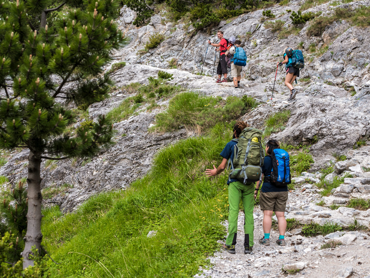 Hiking with the group on guided climb to Mount Olympus, Greece