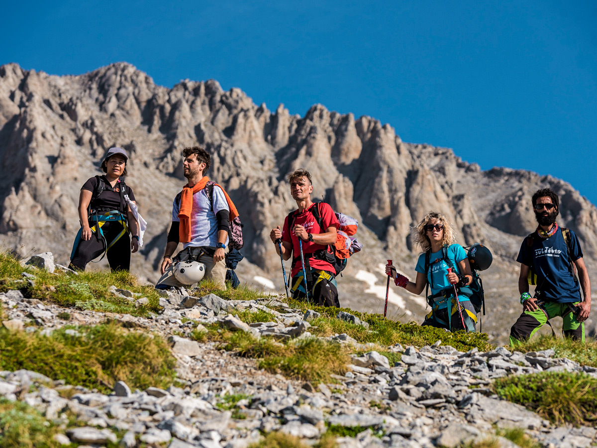 Five hikers on guided climb to Mount Olympus, Greece