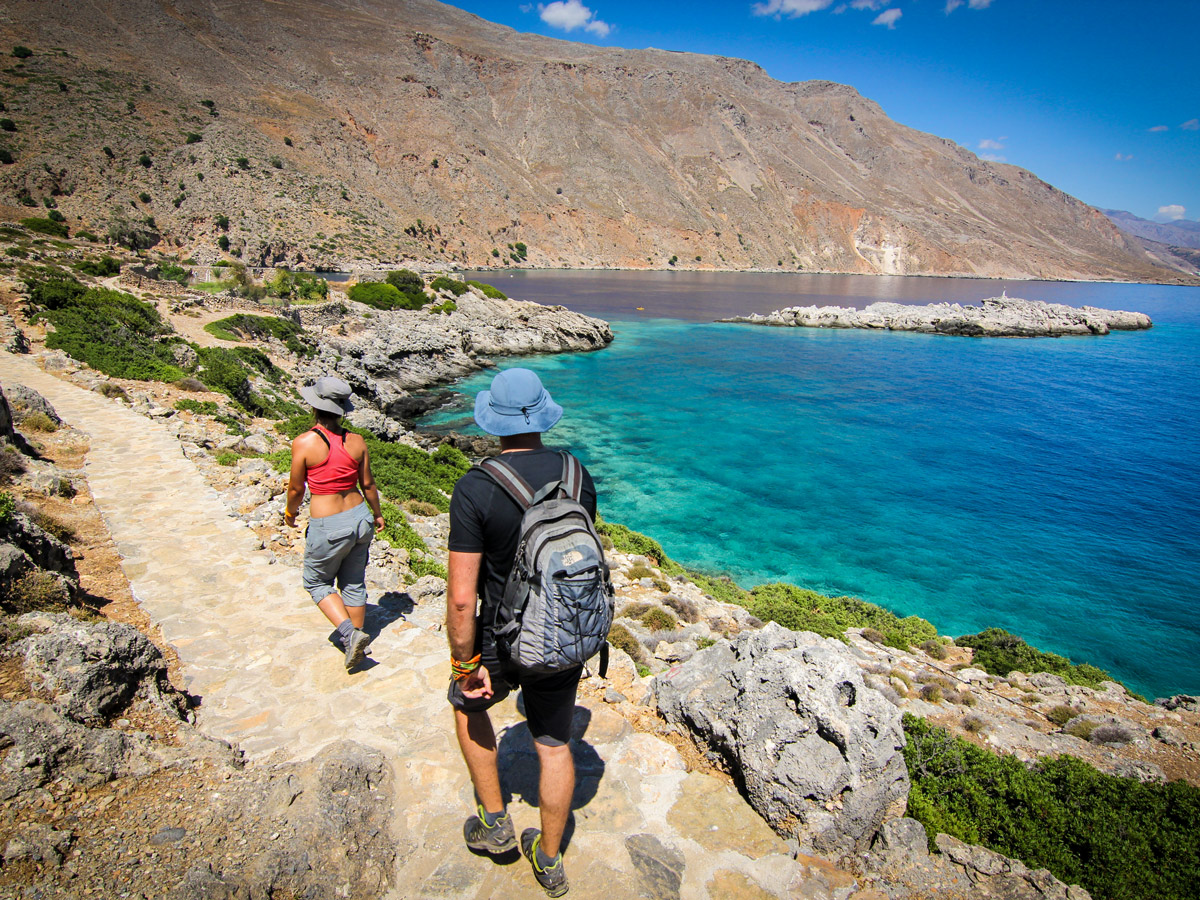 Trail along the coast on guided trek in the White Mountains of Crete, Greece