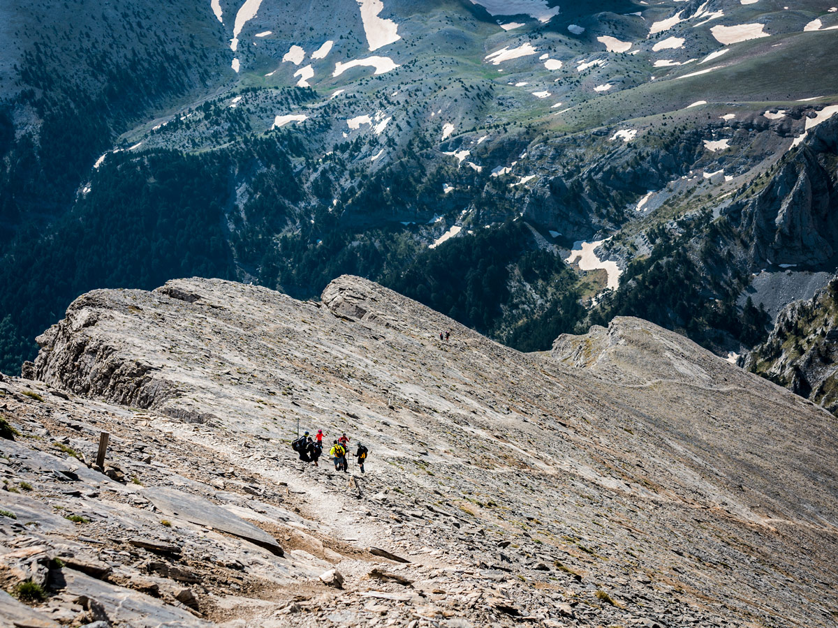 Looking down on guided climb to Mount Olympus, Greece