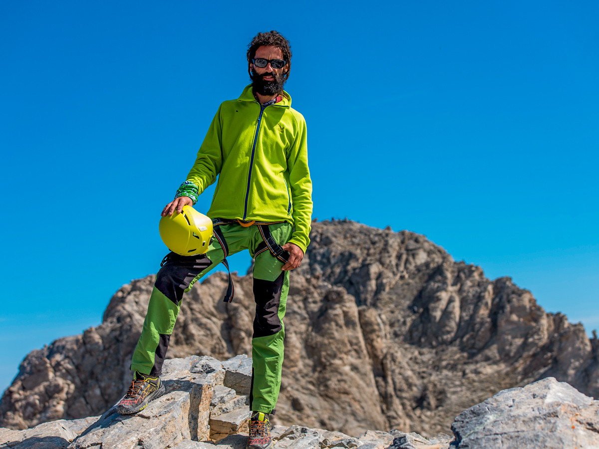 Hiker on Mt Olympus on guided climb to Mount Olympus, Greece