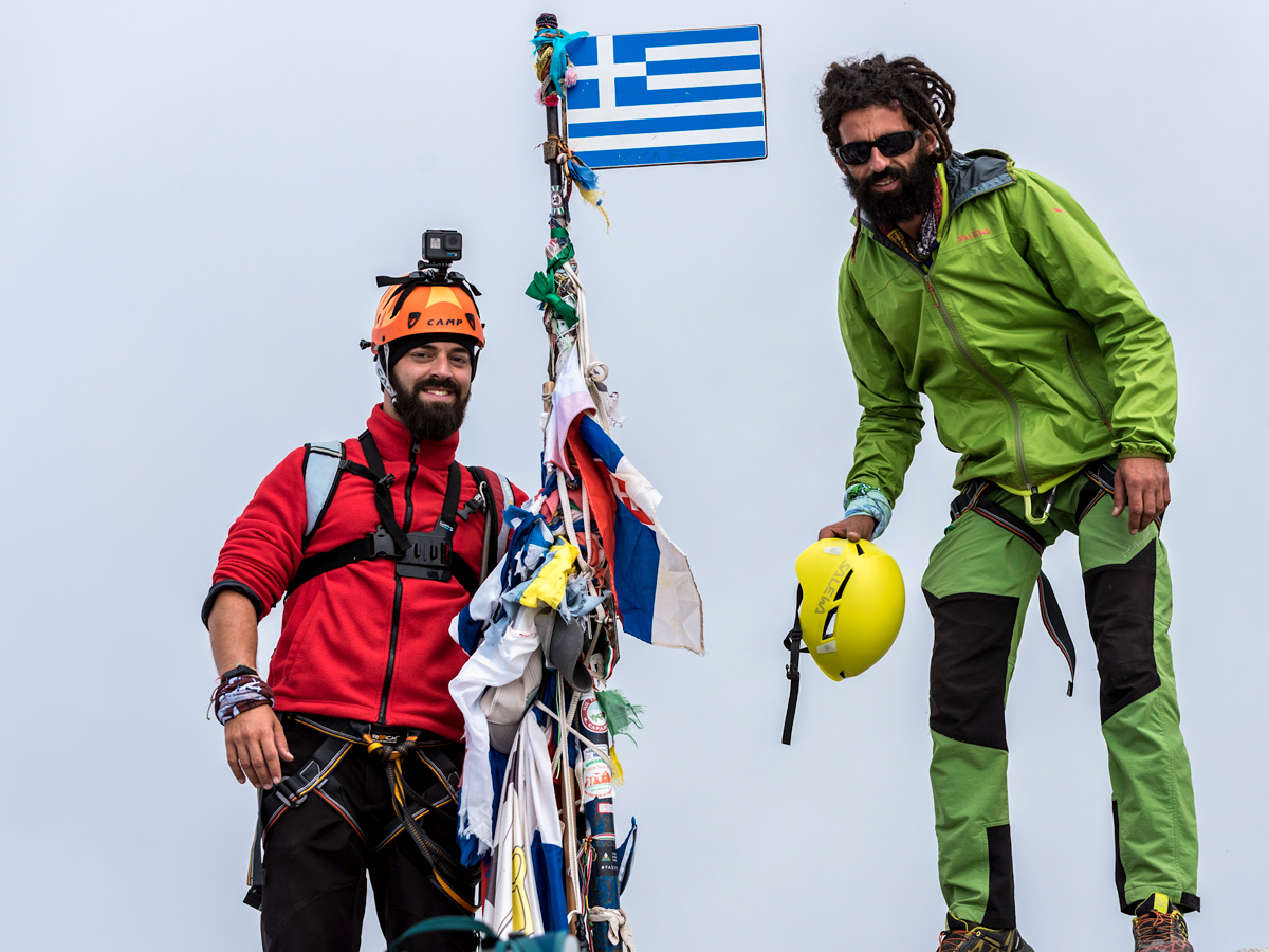 Two hikers on guided climb to Mount Olympus, Greece