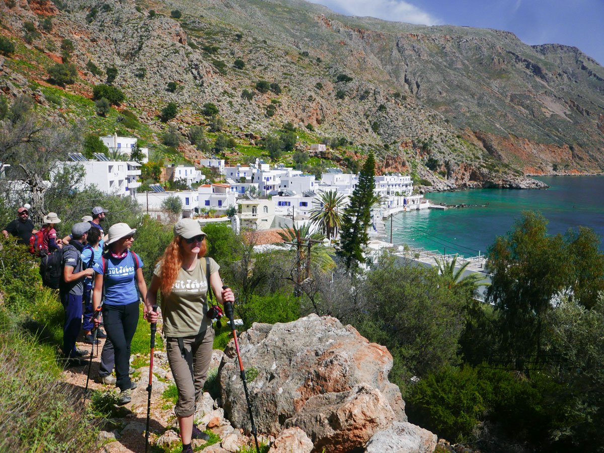 White town in Crete on guided trek in the White Mountains of Crete, Greece