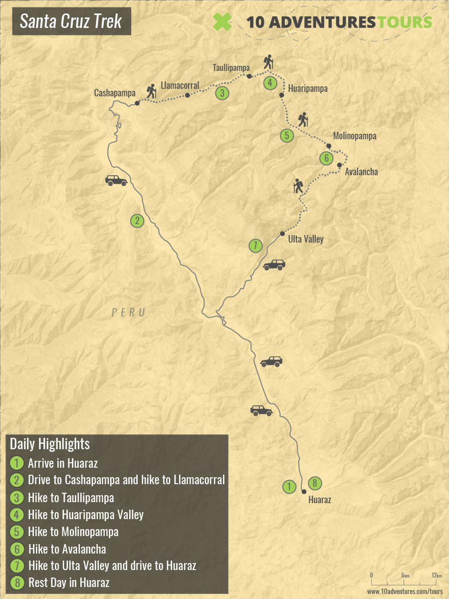 Map of Santa Cruz Trek near Huaraz, Peru