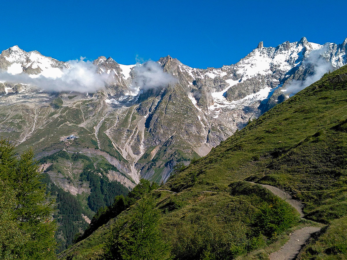 Beautiful alpine views on Tour de Mont Blanc in French Alps