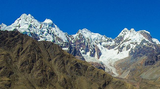 Mountain peaks on Alpamayo trek in Cordillera Blanca, Peru