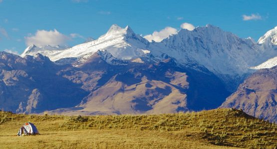 Panoramic view of Andes on guided hike from Huaraz, Peru