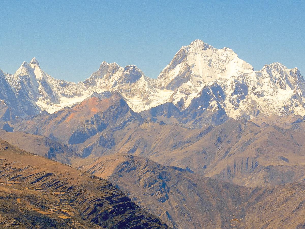Beautiful white mountains on standart Huayhuash circuit trek, Peru
