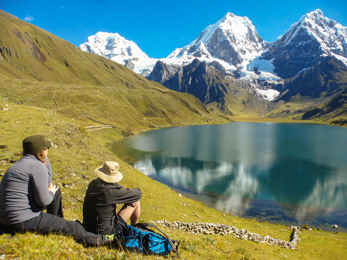 Resting near the lake in Cordillera Huayhuash on standart Huayhuash circuit trek