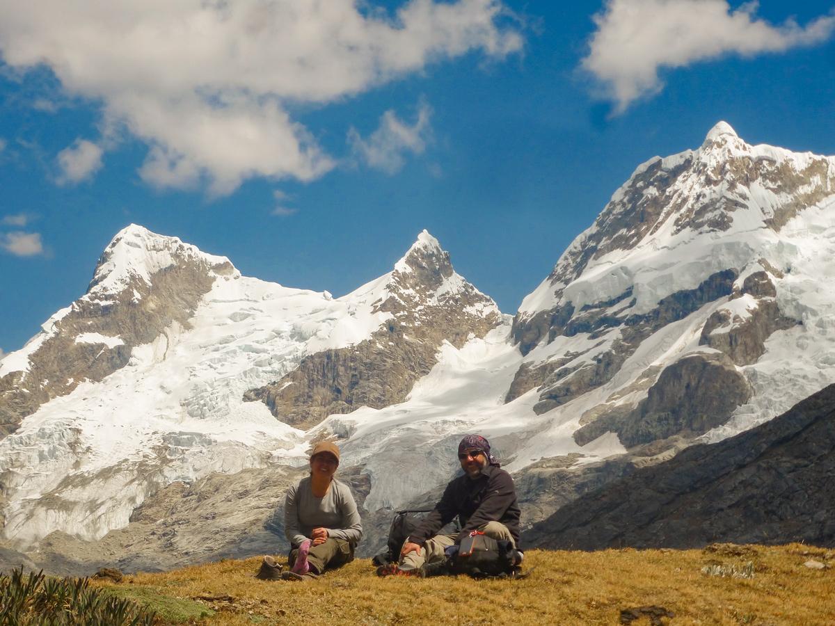 Two hikers on Couple of hikers on standart Huayhuash circuit trek, Peru