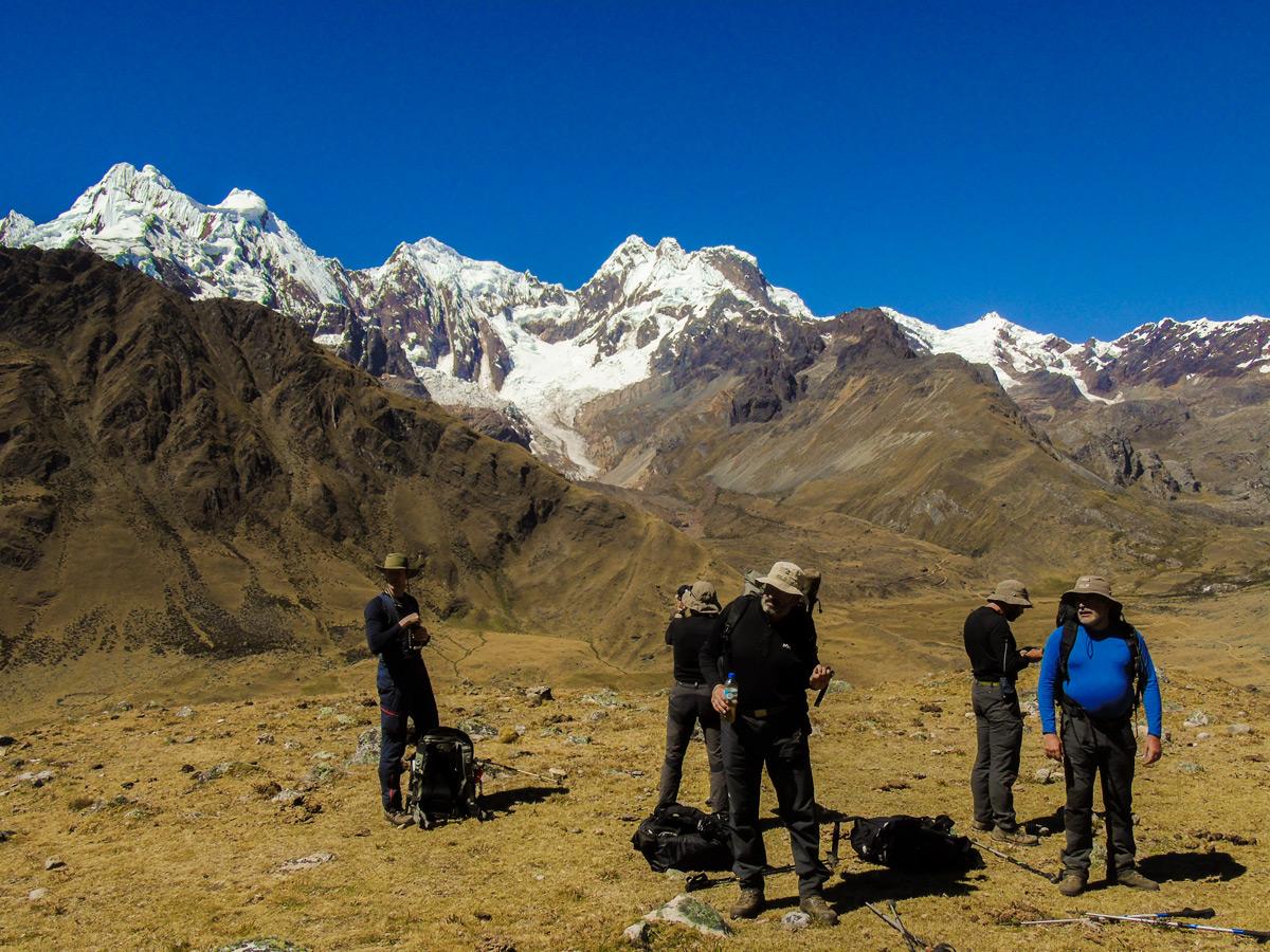 Hikers on Alpamayo trek in Cordillera Blanca, Peru