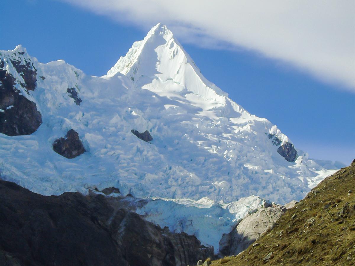 Great mountain scenery on Alpamayo trek in Cordillera Blanca, Peru