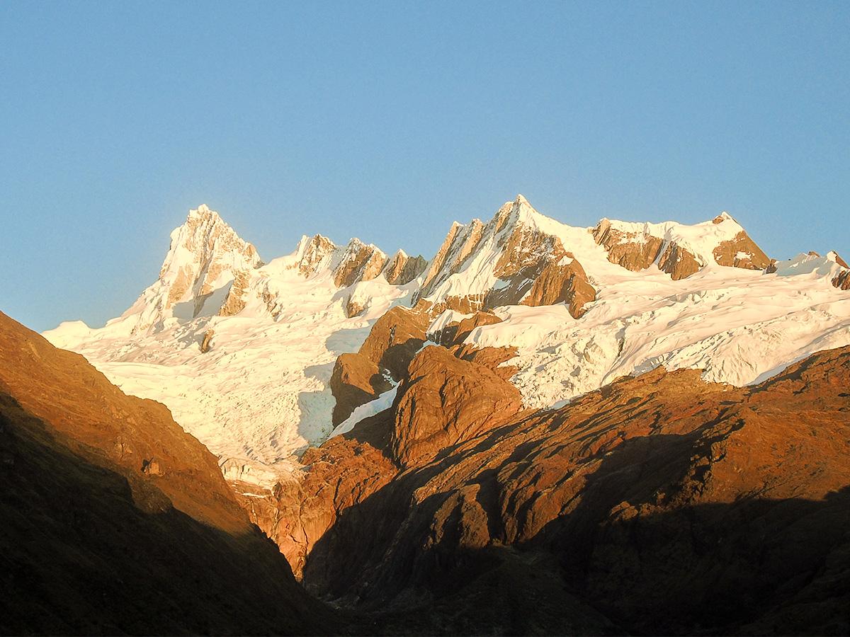 Mountain peaks along Alpamayo trek in Cordillera Blanca, Peru