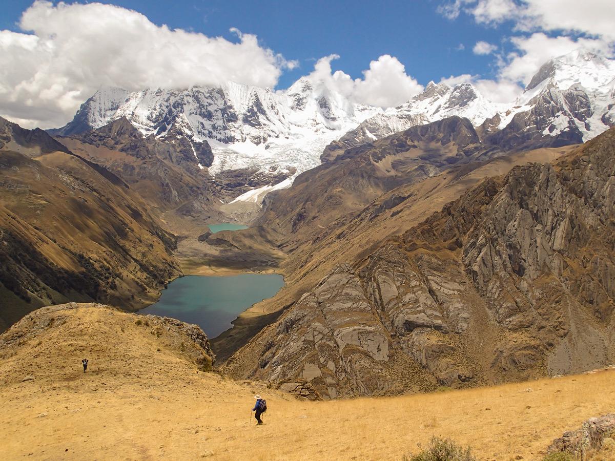 Beautiful panoramic views along the trail of Huayhuash circuit trek, Peru