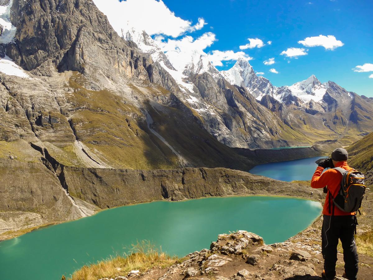 Looking down on beautiful lakes on Huayhuash circuit trek, Peru
