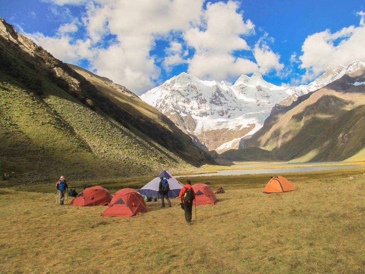 Campsite with beautiful view on Huayhuash circuit trek, Peru