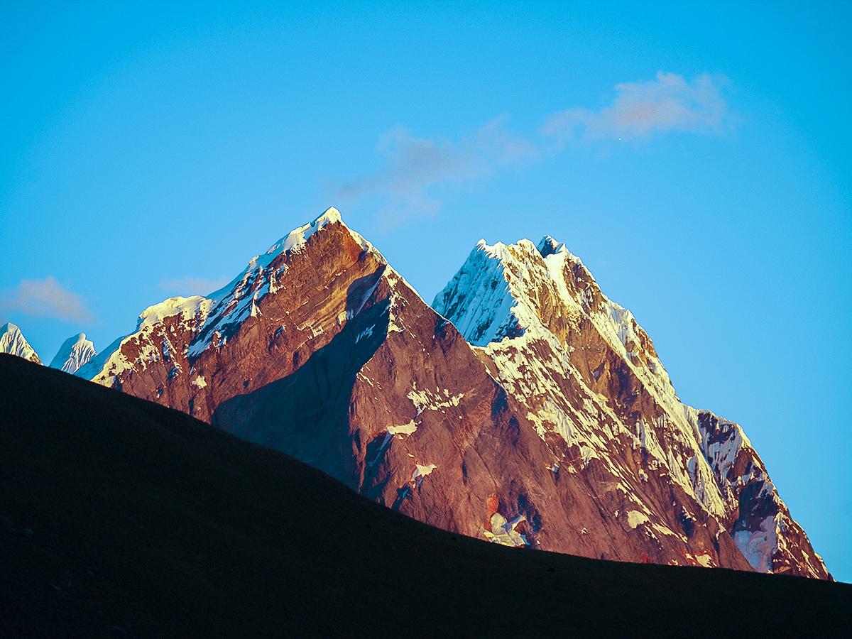 Sunset on the Andean Mountains on Huayhuash circuit trek, Peru