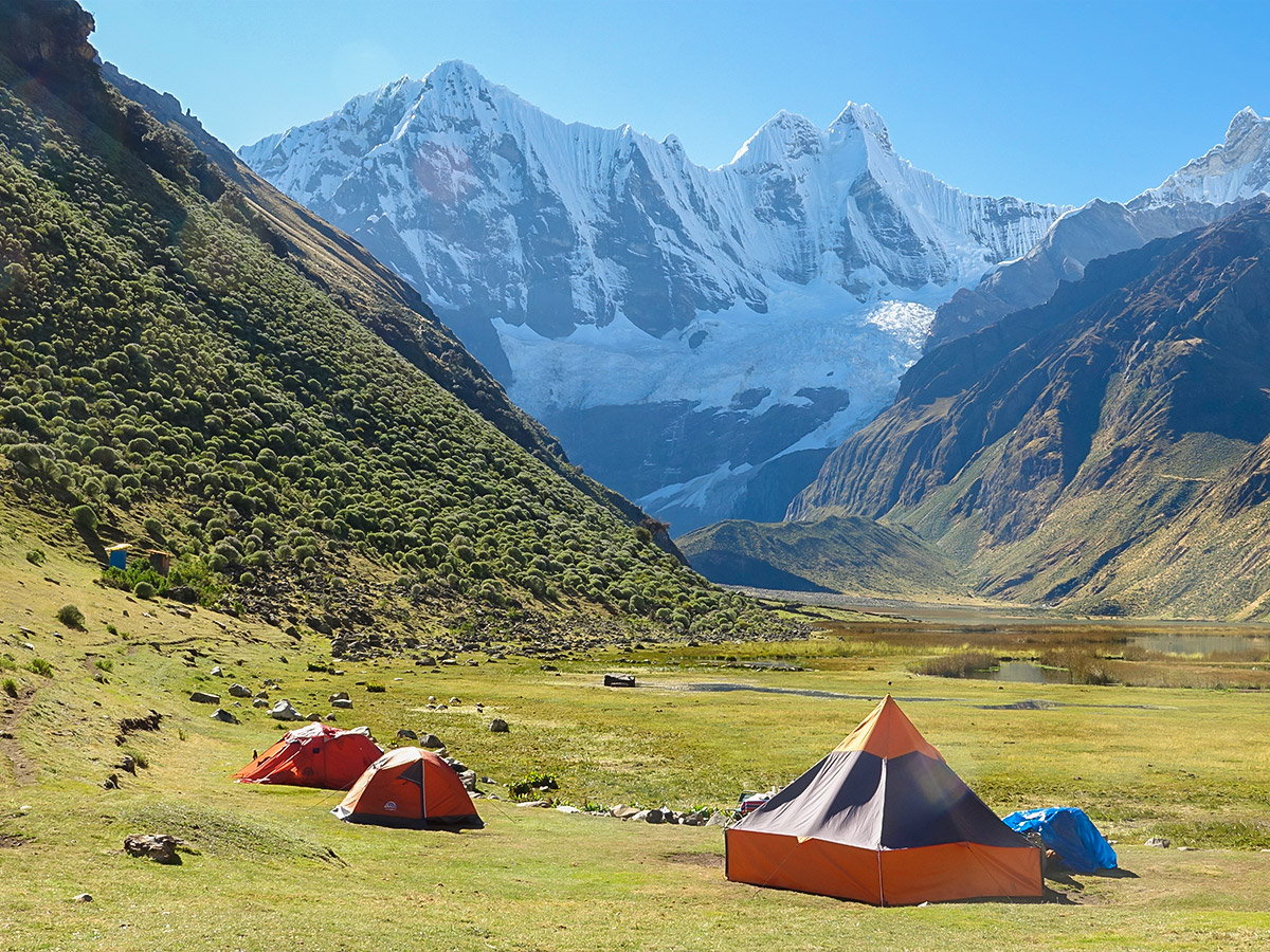 Camping on Huayhuash trek, Peru