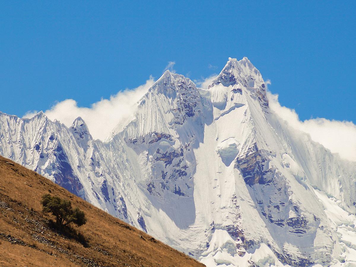Snowy peaks on Huayhuash trek, Peru