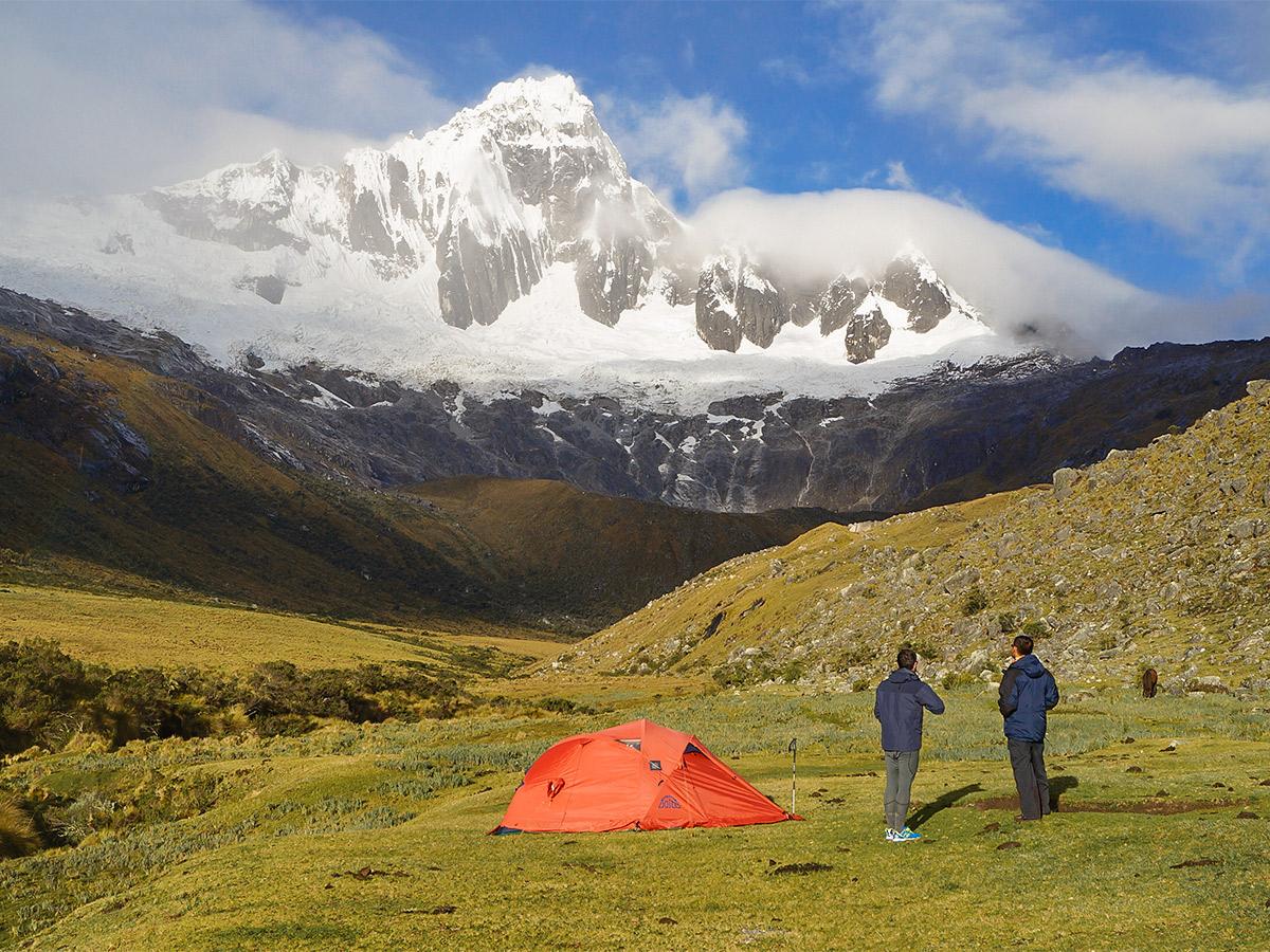 Setting up camp on Santa Cruz trek with guide in Cordillera Blanca