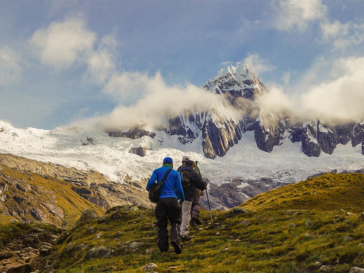 Hikers on Santa Cruz trek with guide in Peru