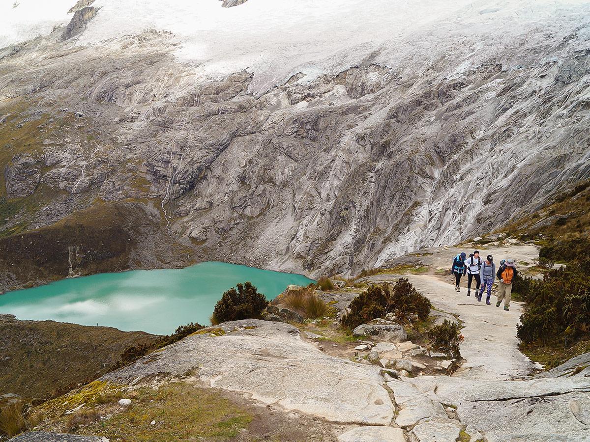 Group of hikers on Santa Cruz trek with guide in Peru
