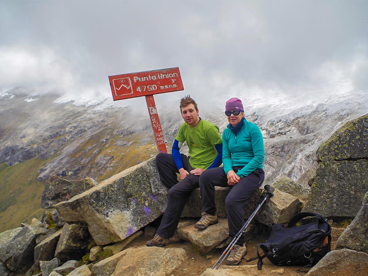Punta Union Pass at 4750m in the Cordillera Blanca on Santa Cruz trek with guide in Peru