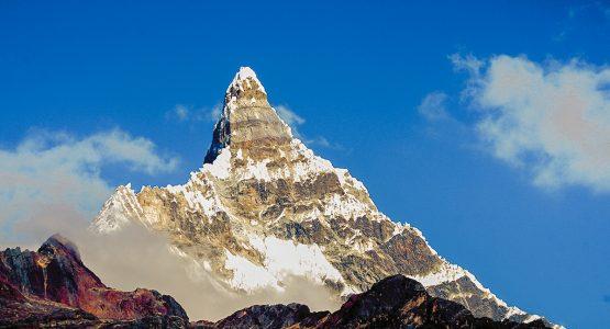 Beautiful peak along the trail on Santa Cruz trek with guide in Peru
