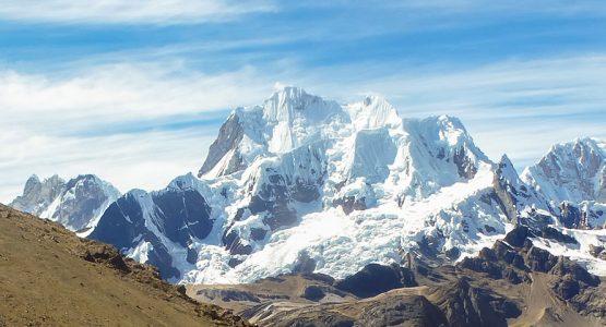 Great white mountains on standart Huayhuash circuit trek, Peru