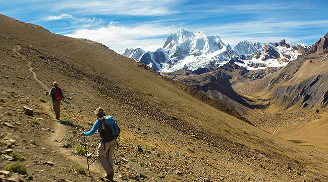 Trail of standart Huayhuash circuit trek, Peru