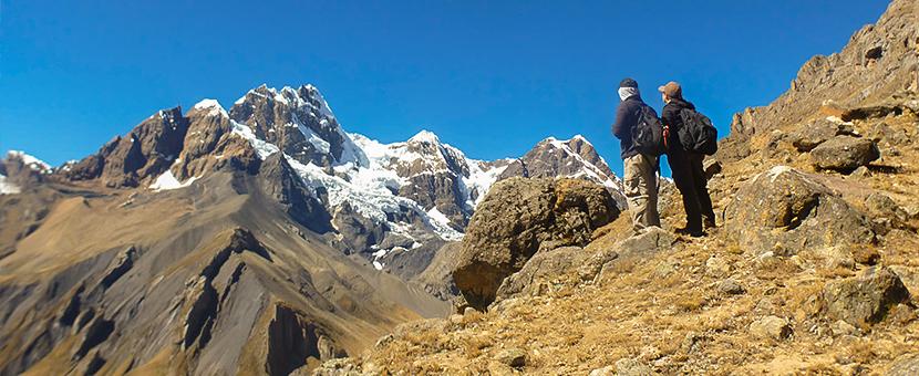 Looking towards Cordillera Huayhuash on standart Huayhuash circuit trek, Peru