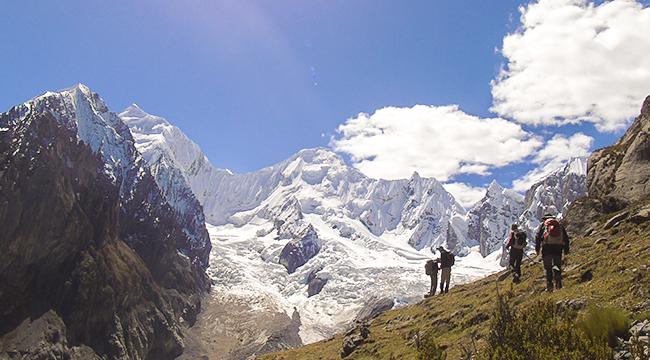 White peaks of Huayhuash on Huayhuash circuit trek, Peru