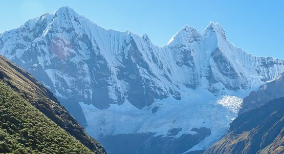 Panoramic view of Andes on Huayhuash trek, Peru