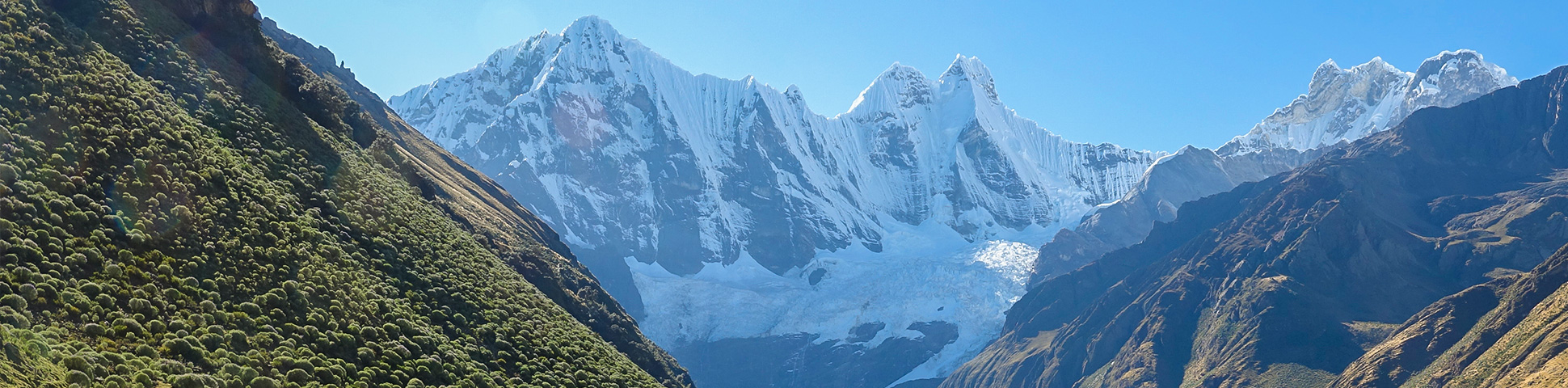 Panoramic view of Andes on Huayhuash trek, Peru