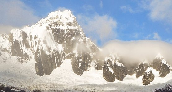 Panoramic mountain scenery on Santa Cruz trek with guide in Peru