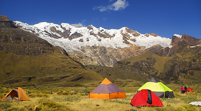 Camping on Santa Cruz trek with guide in Peru