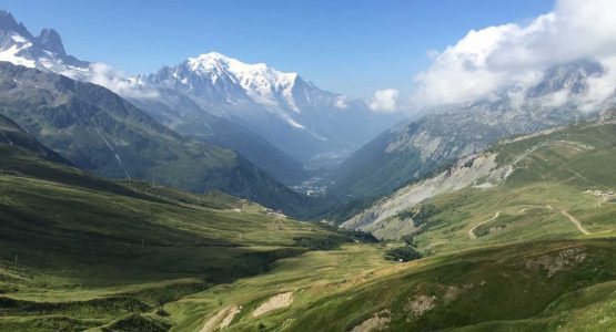Views from Col de Balme on self-guided Haute Route from Chamonix to Zermatt