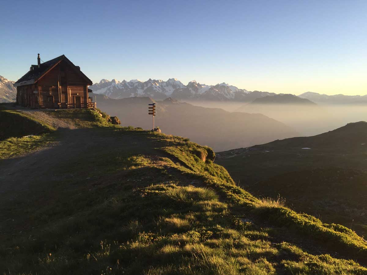 Sunset beyond Verbier on self-guided Haute Route from Chamonix to Zermatt