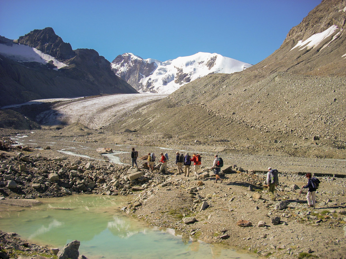 Group of hikers on self-guided Haute Route from Chamonix to Zermatt in Switzerland