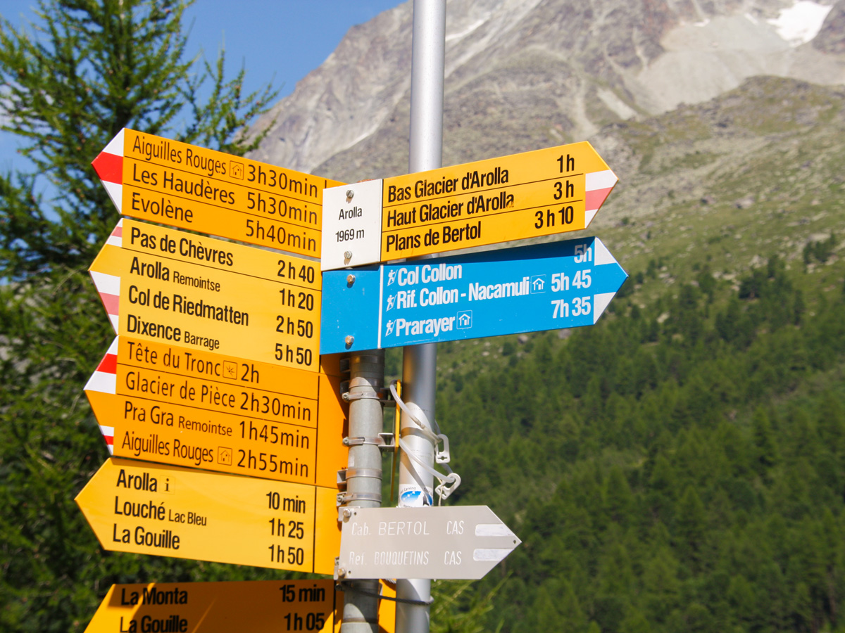 Trail sign on self-guided Haute Route from Chamonix to Zermatt