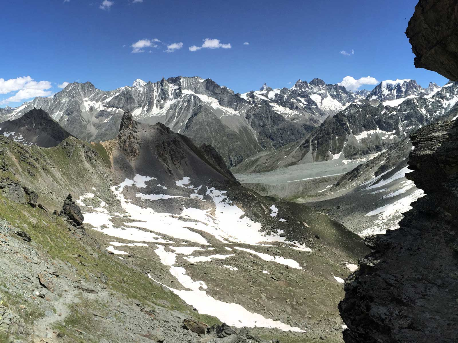 View trekking down to Arolla on self-guided Haute Route to Zermatt